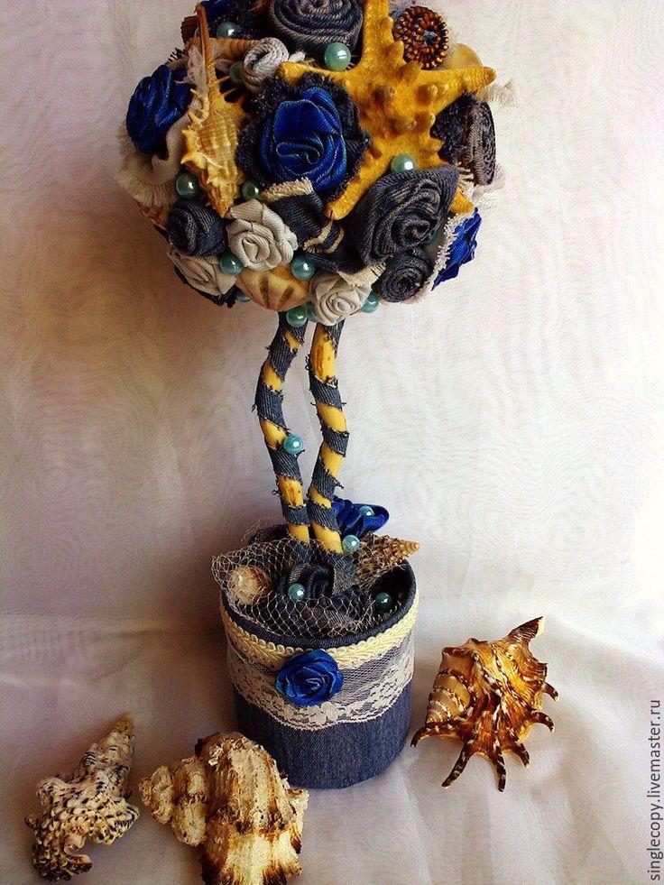 """Купить """"Джинсовый """"топиарий - голубой, топиарий, джинсовый топиарий, джинсовое дерево, декор для дома"""