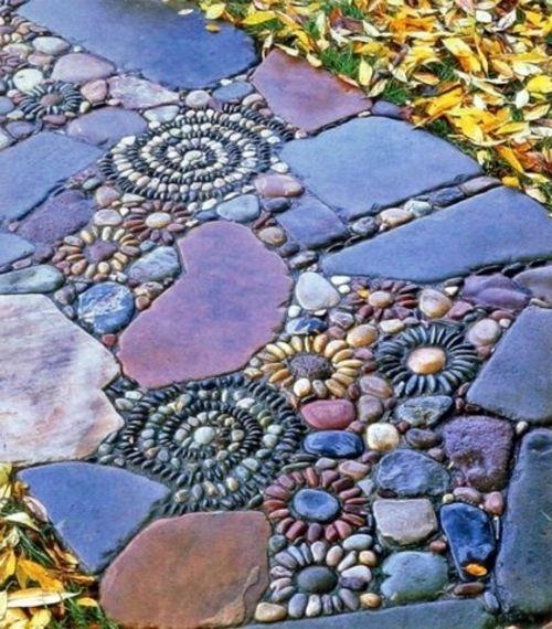 mosaik im garten Steinblumen, bunte Steine