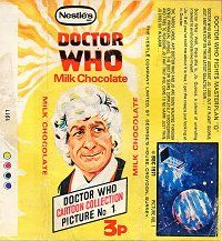 Nestle's Doctor Who Milk Chocolate Bar wrapper - only 3p in the 70's.