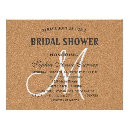 #invitations #wedding #bridalshower - #Rustic Wine Cork Wedding Monogram Bridal Shower Card