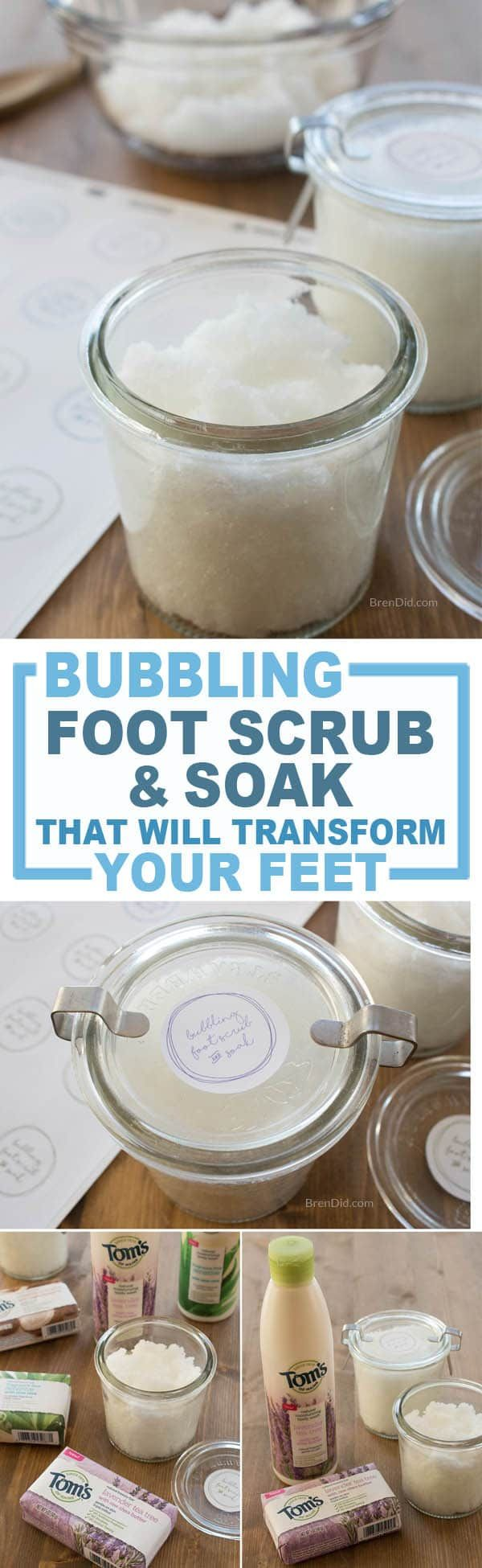 bubbling foot scrub & soak, DIY foot scrub, homemade foot scrub, DIY callus remover, dry skin remover, homemade foot soak, #naturallyinspired #sponsored via @brendidblog