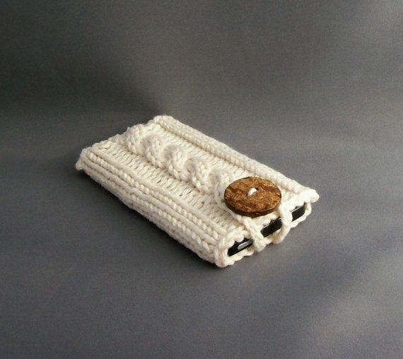 Mobile Cell Phone Case iPhone 4 or 5 Samsung Galaxy s4 Cozy Sleeve Winter White Handmade Coconut Button Crocheted Button Loop Mothers Day $18