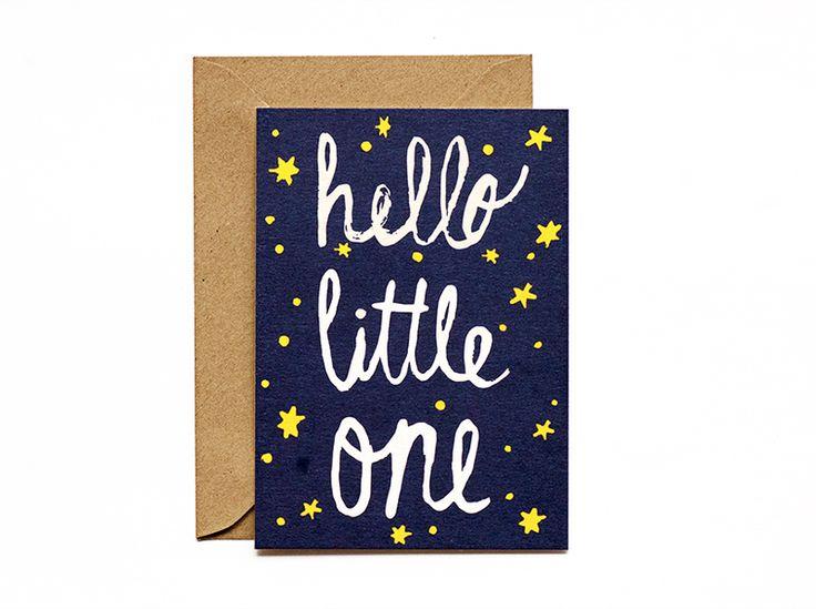 """Karte zur Geburt """"hello little one"""" mit Umschlag von heitere Tage auf DaWanda.com"""