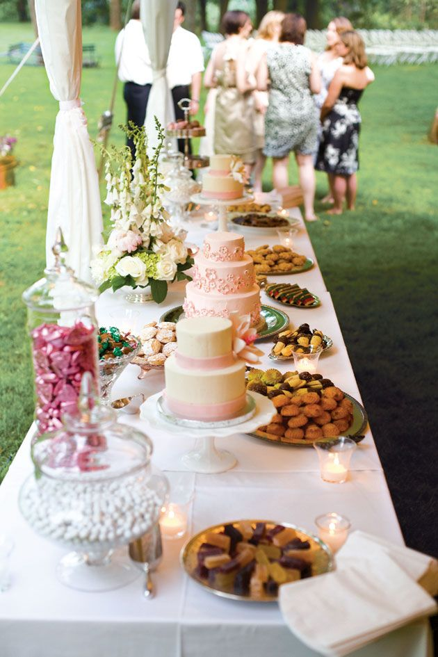 Dessert table... If you do a dessert reception and ask family to bring cookies, bars, etc... on clear glass or silver serving dishes they could be put out on a long dessert table and look really nice...