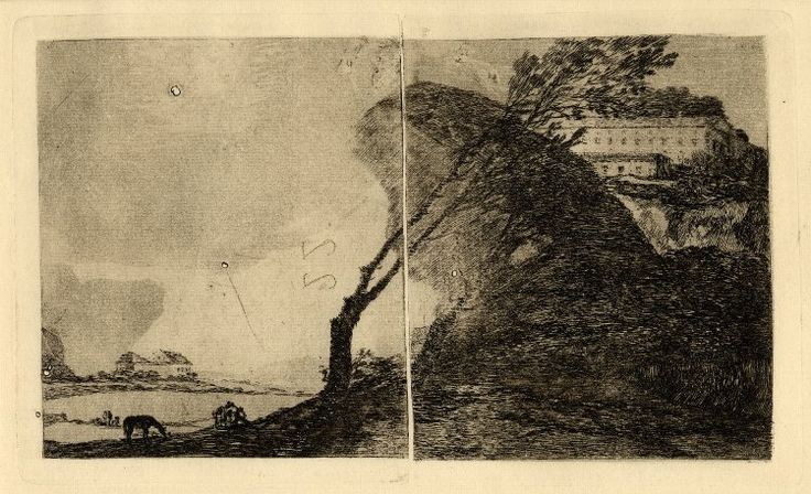Image gallery: Landscape with buildings and trees - before 1810 etching and burnished aquatint, c1920 impression, two rejoined plates