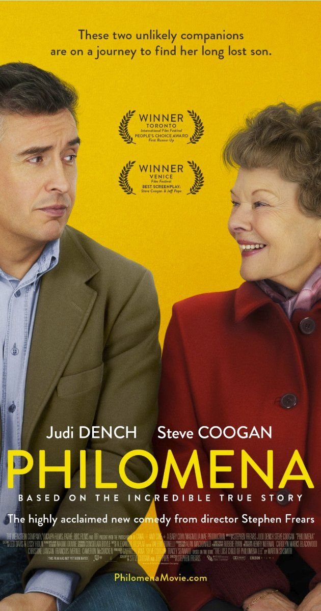 PHILOMENA. An engaging story and a stand out turn from Judi Dench elevate this otherwise bog standard drama. 3.5 stars
