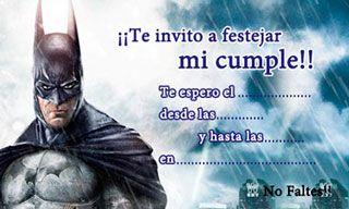 Invitaciones de cumpleaños de Batman para imprimir