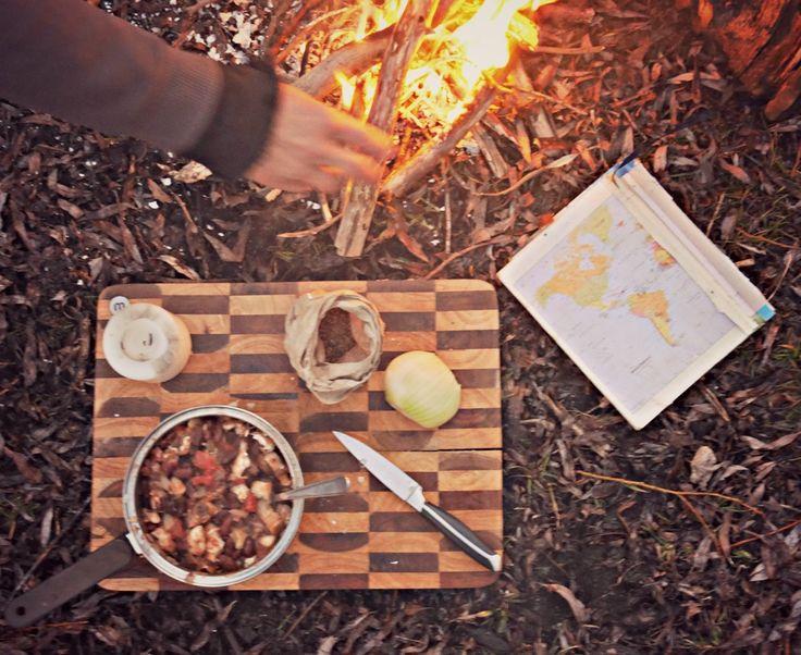 Campfire cooking, Lake Hayes, Otago.
