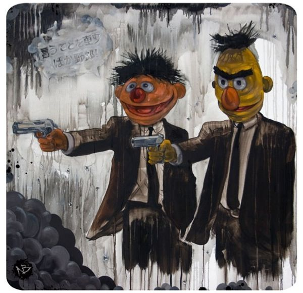 """""""Pulp Street"""" (2010), by Nick Beery. Sesame Street's Bert and Ernie as Jules Winnfield and Vincent Vega of Pulp Fiction. """"Pop Fiction"""" series, with pop culture mashup paintings."""