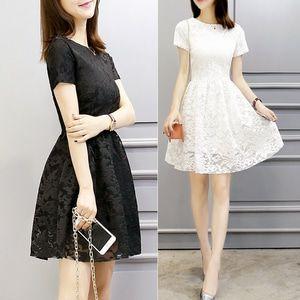Korea Dress Pendek Brukat/ Mini Dress Brokat#6000431