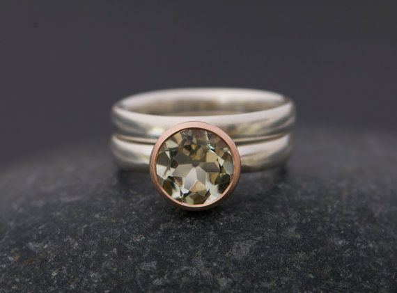 Green Amethyst Engagement Ring and Wedding Band by williamwhite