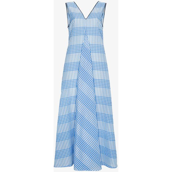 Ganni Charron Sleeveless Seersucker Gingham Dress (165 JOD) ❤ liked on Polyvore featuring dresses, long skater skirt, blue long dress, blue sleeveless dress, deep v-neck dresses and seersucker dress
