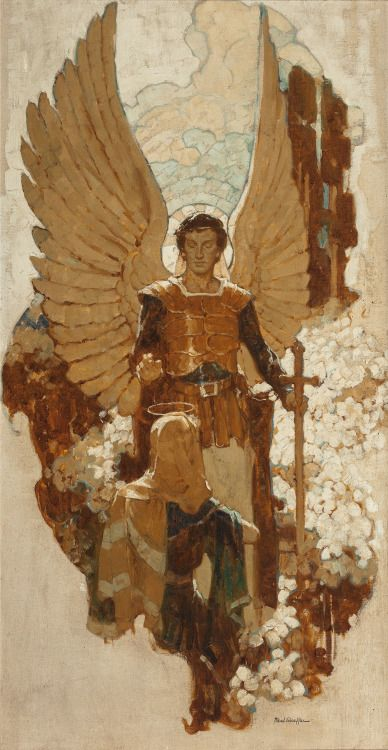 MEAD SCHAEFFER Gabriel & Mary (The Annunciation) Oil on canvas 40 x 21 inches