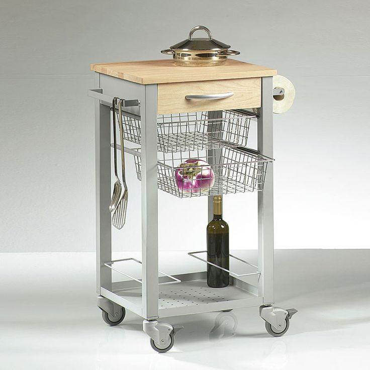 Carrello da Cucina con cestelli estraibili in acciaio ripiano in massello  struttura colore alluminio h81