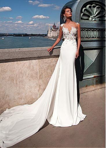 Chic Tulle & Chiffon Jewel Neckline Mermaid Wedding Dresses With Lace…