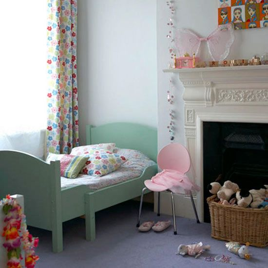 Flora accents girl's bedroom with light green bed