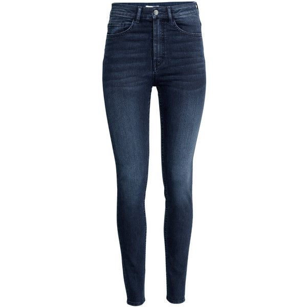 H&M Trousers High waist ($30) ❤ liked on Polyvore featuring pants, jeans, bottoms, trousers, dark denim blue, 5 pocket pants, highwaisted pants, highwaist pants, high waisted trousers and h&m trousers