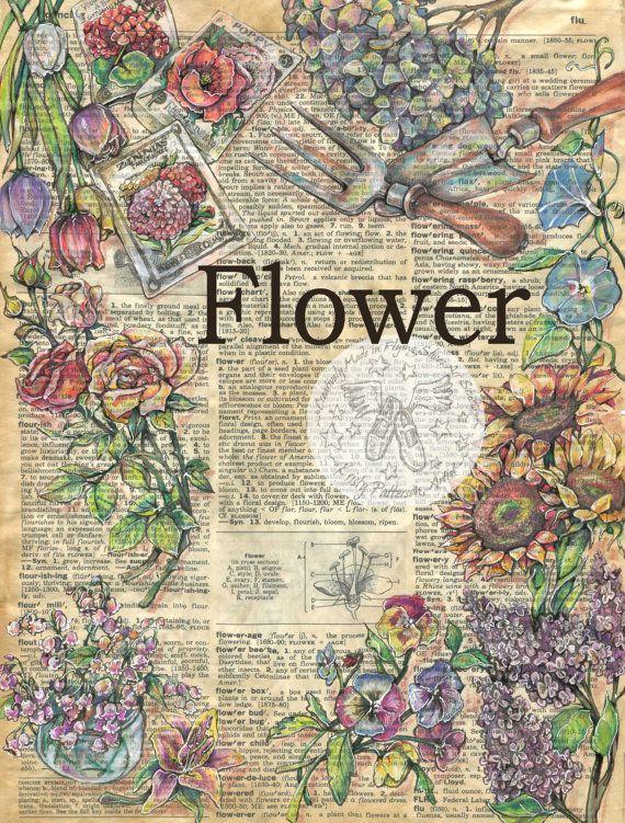 IMPRESIÓN: Flor mixta dibujo antiguo Diccionario