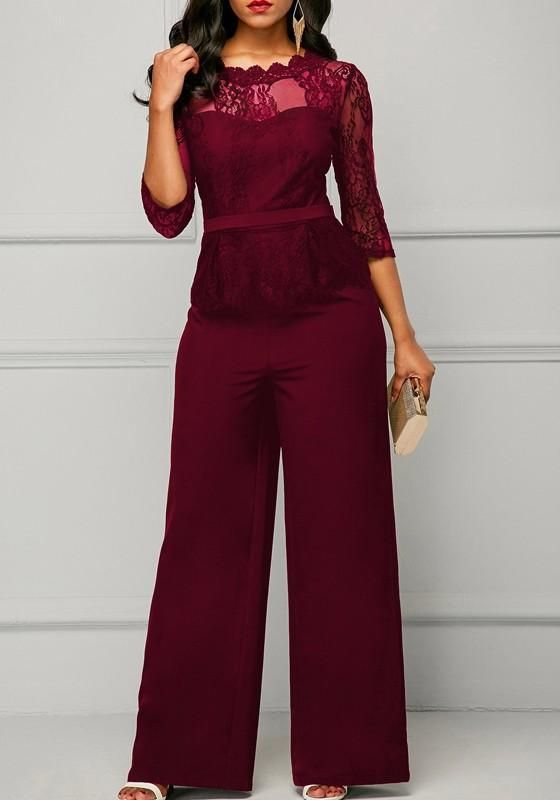 9a2f187a956 Red Patchwork Lace Peplum Wide Leg Formal Elegant Party For Wedding Long  Jumpsuit