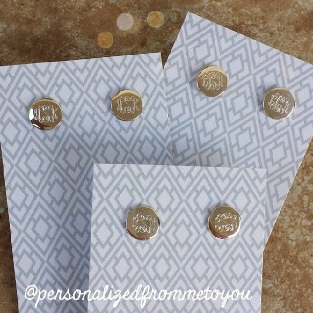"""Monogrammed Earrings """"ADS"""" in sterling silver or white gold"""