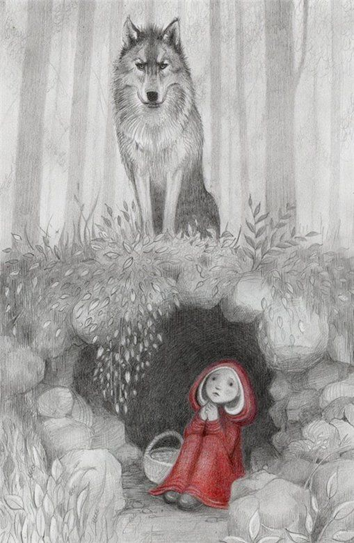 Kathy Hare: Little Red, Small Chaperone, The Small, Fairy Tales, Illustration, Kathy Haring, Red Riding Hoods, Red Riding Hood, Fairies Tales