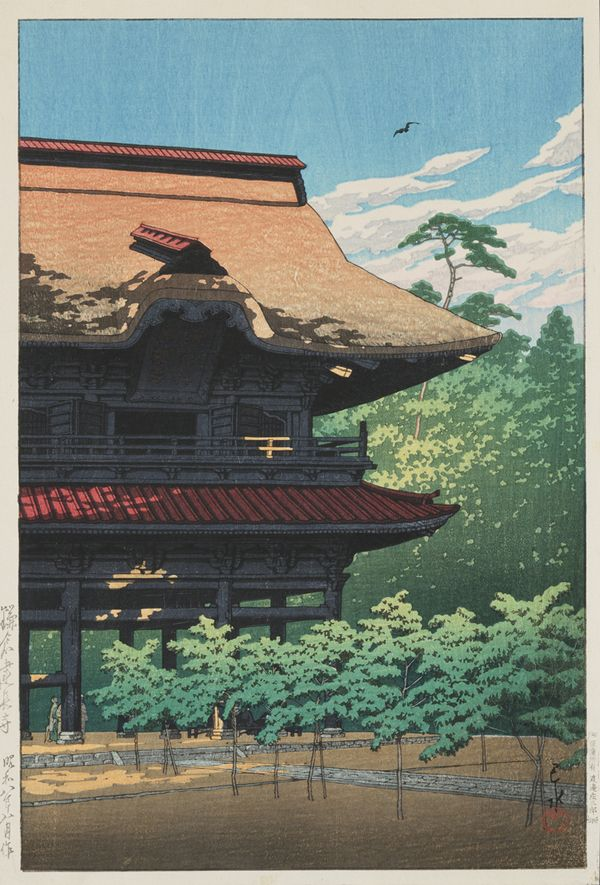 Kawase Hasui (Japanese, 1883–1957), Temple of Kenjo-Ji. Color woodblock print, 1933.