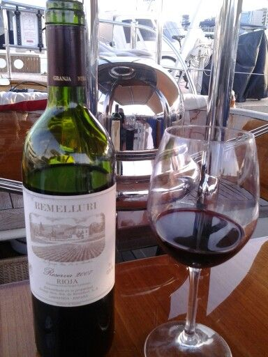 Great 100% tempranillo, Rioja, 6/25/13   Palma,  Club de Mar, Mallorca, on board Aurelius, modern classic, Duch built 2004