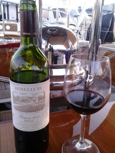 Great 100% tempranillo, Rioja, 6/25/13   Palma,  Club de Mar, Mallorca, on board Aurelius, modern classic, Duch built 2004
