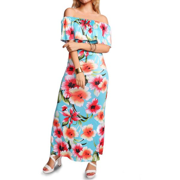 Rotita Flower Print Open Back Flounce Embellished Dress (32 CAD) ❤ liked on Polyvore featuring dresses, cyan, off the shoulder maxi dress, floral print maxi dress, floral maxi dress, short-sleeve dresses and white off the shoulder dress