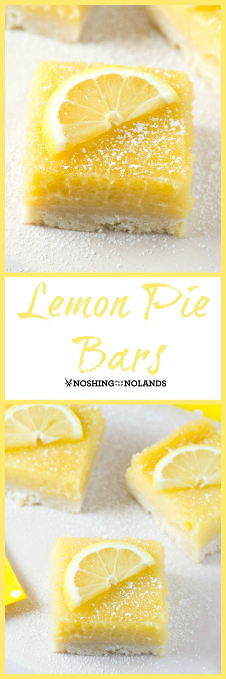 Lemon Pie Bars by Noshing With The Nolands are bursting with wonderful citrus flavor and will liven you up for spring. Perfect treat for Easter too!