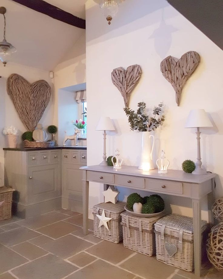 Country home with a modern feel…wicker hearts an…