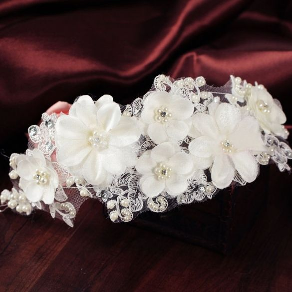 Hot Fashion Elegant White Bridal Headdress Hand Wedding Dress Accessories Headband