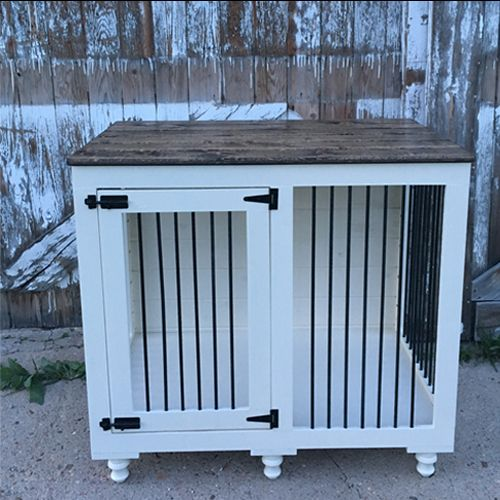 Best 25 dog crate furniture ideas that you will like on for Wooden dog pens for inside