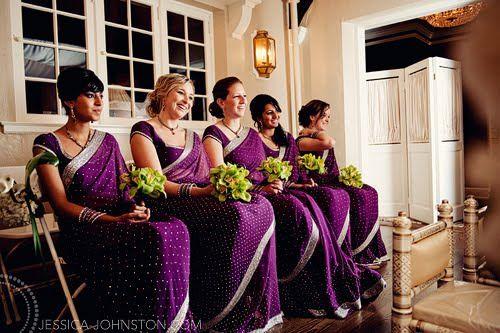 #bridesmaids #bollywood #india #saree #purple #green