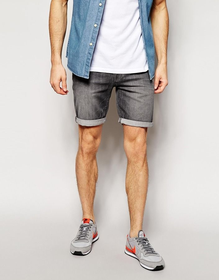 $40, Asos Brand Denim Shorts In Super Skinny Fit Mid Length. Sold by Asos. Click for more info: https://lookastic.com/men/shop_items/216877/redirect