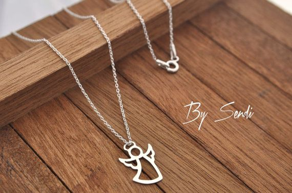 Sterling Silver Angel Necklace, Angel Necklace, Angel Pendant, Angel Silver, Silver Necklace Guardian Angel Necklace, Guardian Angel Pendant