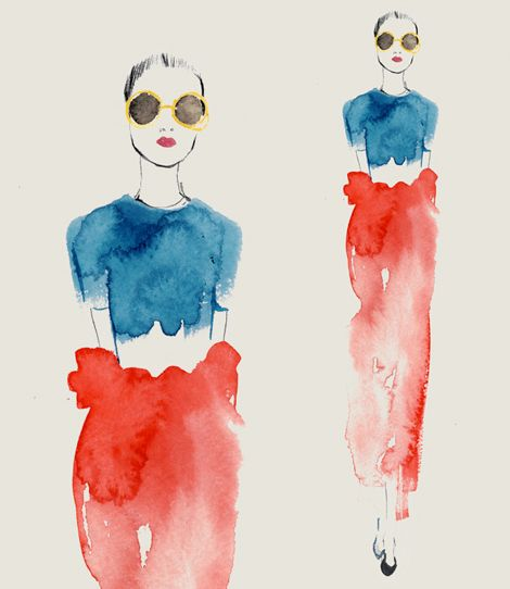 fashion watercolor illustration red and blue