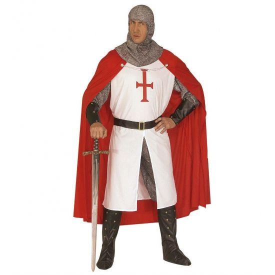 Ridderpak voor volwassenen  Kruisvaarders kostuum voor heren bestaande uit een lange witte top met op de borst een rood kruis. Een zilveren broek zwarte pols banden zilveren hoofdkap zwarte laarsbeschermers en een rode cape.  EUR 74.95  Meer informatie