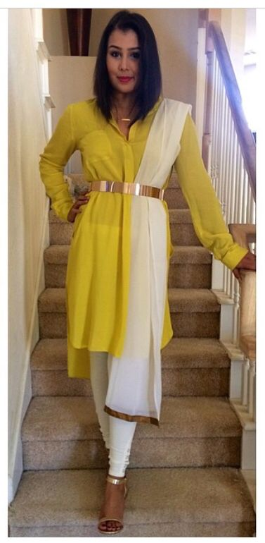 Blogger Rida Islam in a fusion Indian outfit with Kurta tunic from Zara