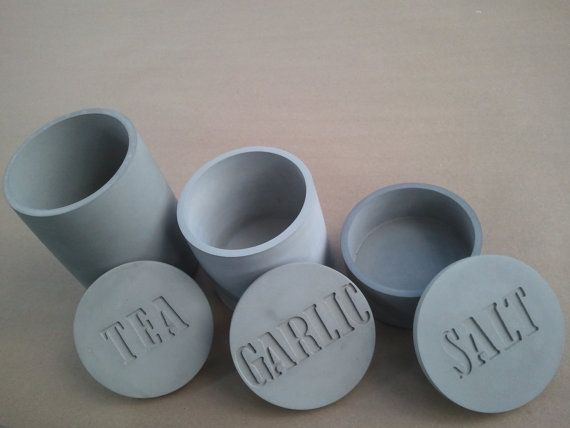 Concrete container set for tea, garlic and salt by kreteware