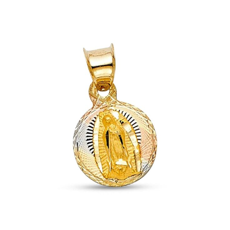14k Tri Tone Gold Our Lady Guadalupe Diamond Cut Pendant Genuine Polished Religious Coin Small Charm New 13 mm x 10 mm. Genuine Solid Gold. 30-Day Money Back Guarantee. Free Shipping in US. Item in Gift Box. High Quality Jewelry and Service.