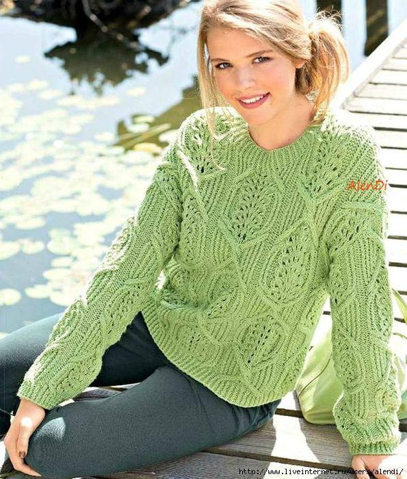 Пуловер с узором из ажурных кос