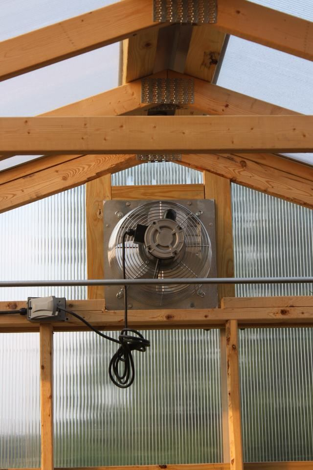 Just like it's important to keep it warm enough inside for optimal growing it's also important not to let it get too warm on the sunny days. The ventilation fan is a big help for moderating the temp.  http://www.woodtex.com/greenhouses.asp