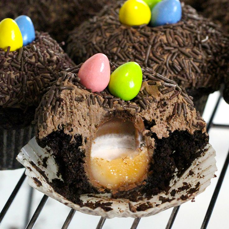 The only way to make chocolate cupcakes even yummier is to stuff them with Cadbury Crème Eggs.