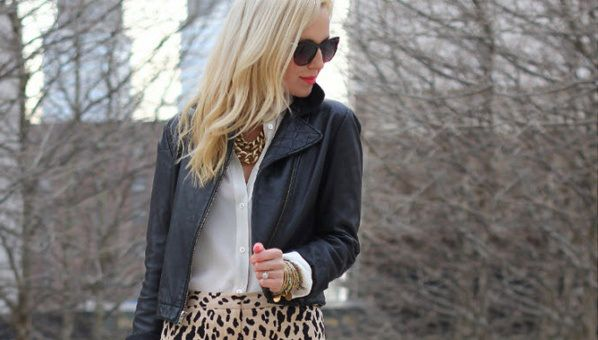 Seems like a tricky outfit, wearing black leather with animal prints, but very cool IF the combination is right. Pair your weary black jacke...