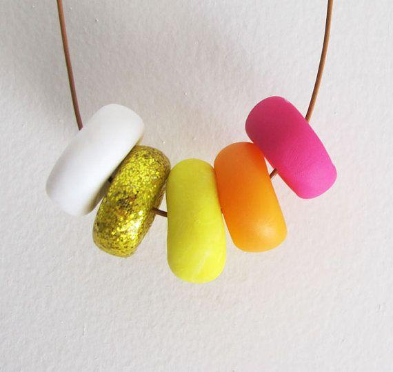 Handmade Bright Neon Sunburst Necklace In by DanidotDesigns