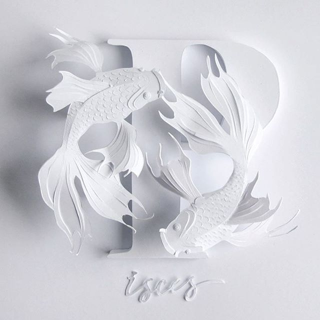 Pisces/Рыбы.  Кого следующего вырезать?  Which sign u'd like next?)) #art #paper #paperart #papercutting #handmade #handcut #illustration #paperartist #papercraft #paperartistcollective #shoutout #talnts #topcreator #artfido #creative #pisces #horoscope #inspiration #арт #рыбы #бумага #гороскоп