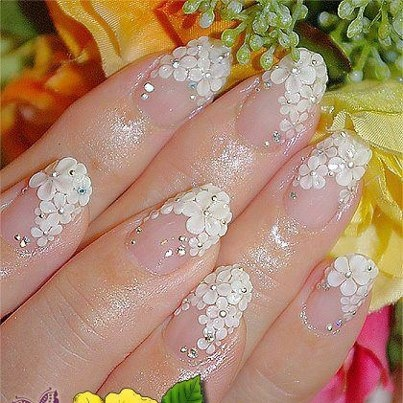 Fancy  fingernails - looks like wedding day nails