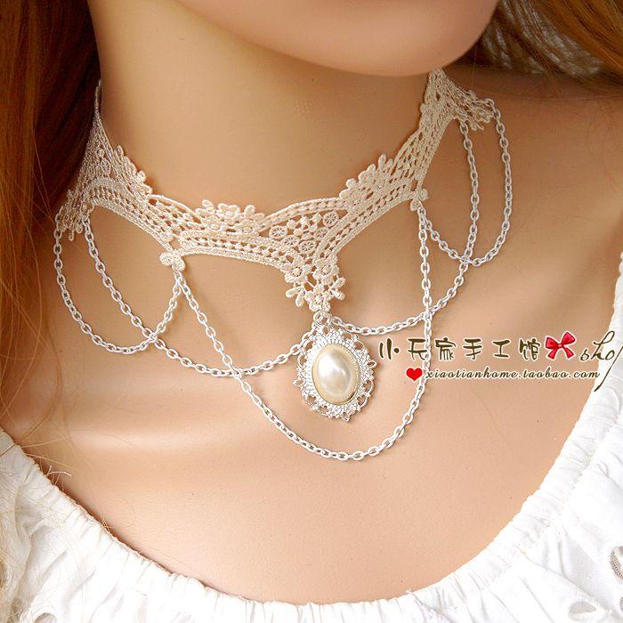 Белые кружева Choker ожерелье женское ключицы цепи ожерелье свитер цепи свадьбы невеста свадебные украшения XL027- Taobao