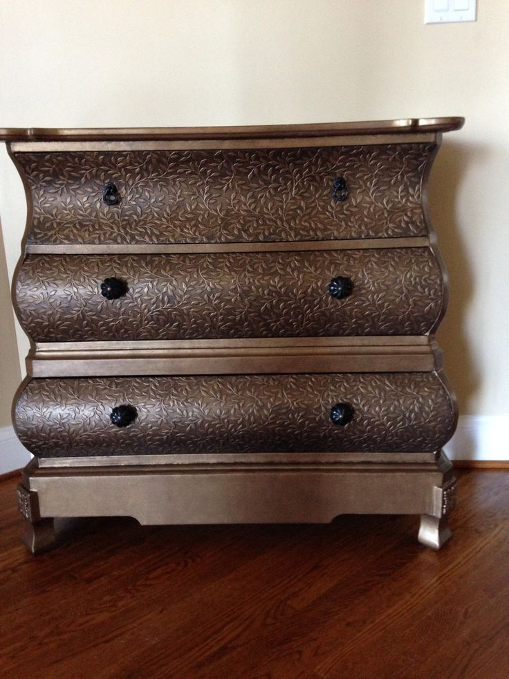 ... Martha Stewart. A Bombay Chest That I Refinished.I Covered The Drawers  With Paintable Wallpaper Then Used